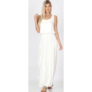 Zenana Ivory Bubble Top Maxi Dress Size Medium